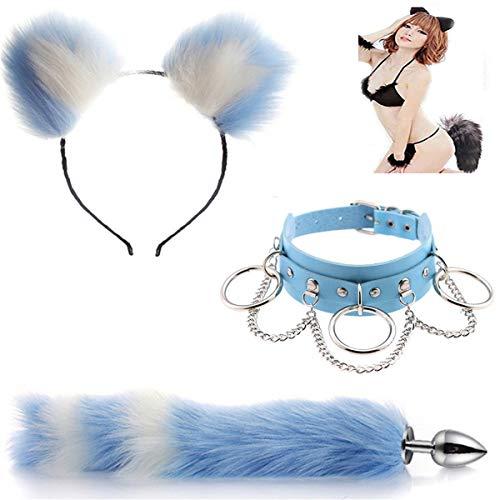 Bule-White Acero inoxidable B-tt P-l--g Tail Fox Plg Ear Set Sxy Collar Fox Btt Anime Inoxidable Orejas de gato Diadema Fluffy Cosplay Maid Happy Toys