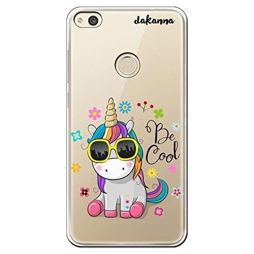 dakanna Funda para Huawei P8 Lite 2017 | Unicornio con Gafas Frase: Be Cool | Carcasa de Gel Silicona Flexible | Fondo Transparente