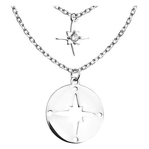 SOFIA MILANI - Collar para Mujeres en Plata de Ley 925 - con Piedra de Circonio - Colgante de Mapa del Mundo con Brújulat - 50295