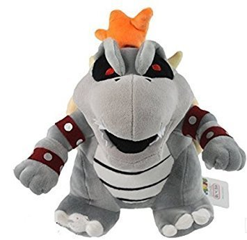 "Super Mario Plush 10"" Gray King Bowser Koopa Doll Stuffed Animals Figure Soft Anime Collection Toy Dark Limited Edition"