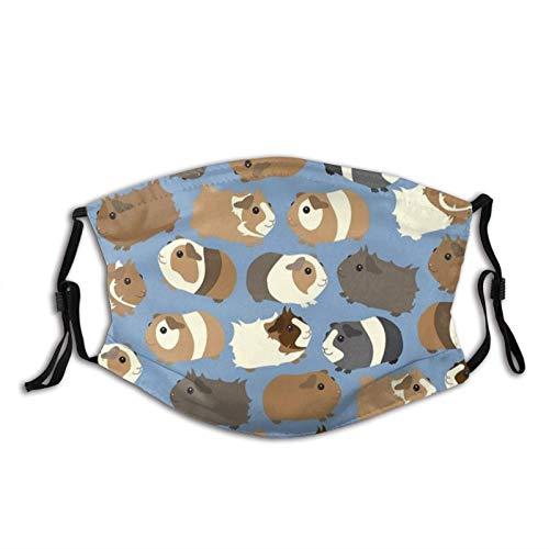 Lindo animal cobayas, lavable, ajustable, bufandas reutilizables de moda para unisex con 2 filtros