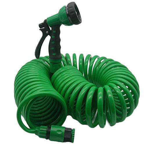 Varadyle Manguera de agua flexible en espiral para lavado de coche y jardín con boquilla para el hogar, lavado de coches, jardín