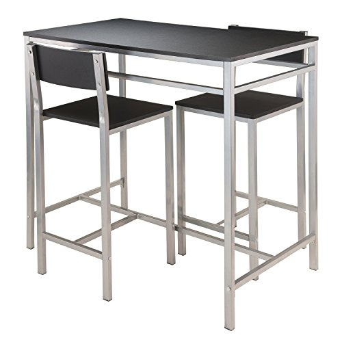 Winsome Hanley 3-Piece High Table with 2-High Back Stools, Black