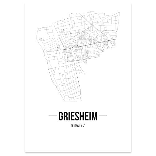 JUNIWORDS Stadtposter - Wähle Deine Stadt - Griesheim - 60 x 90 cm Poster - Schrift B - Weiß
