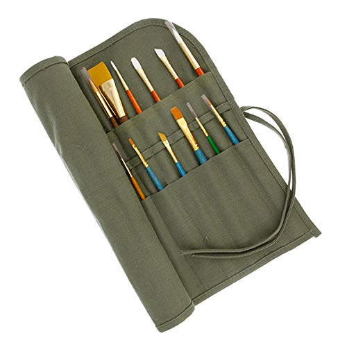 US Art Supply Deluxe Canvas Art Brush Roll-Up Bag (Brushes NOT Included)