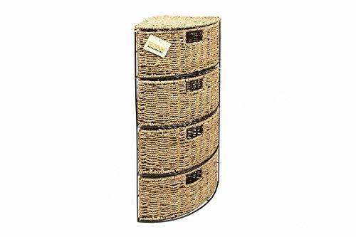 woodluv Eckschrank für Badezimmer/Schlafzimmer, aus Seegras, 4 Schubladen