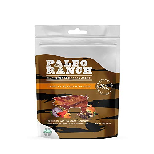 PALEO RANCH Uncured Bacon Jerky, All Natural, No Added Hormones, No Preservatives, 1.5 Ounce (Chipotle Habanero, 8 Pouches)