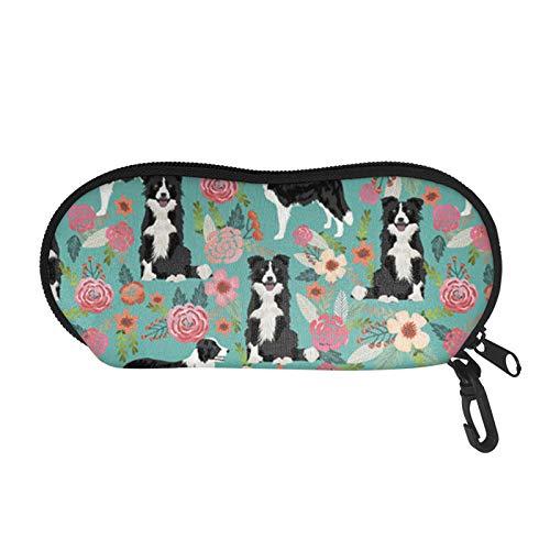 SEANATIVE Sunglasses Case with Soft Glasses Pouch Border Collie Design Travel Portable Sport Glasses Organizer with Carabiner