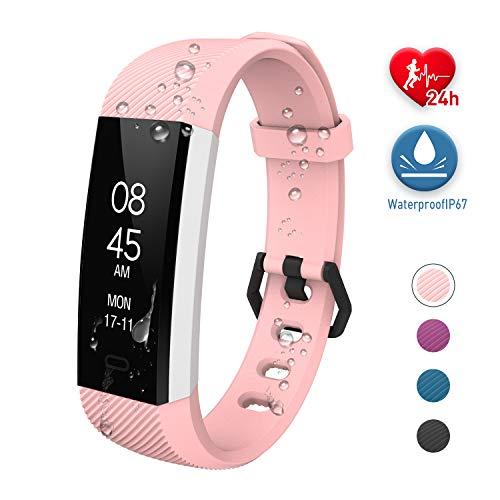 Fitness Tracker Uhr mit Pulsmesser Wasserdicht Aktivitätstracker Fitness Armband Smartwatch Pulsuhr Schrittzähler Uhr, Sportuhr für für Kinder Damen Herren für iPhone Android Handy