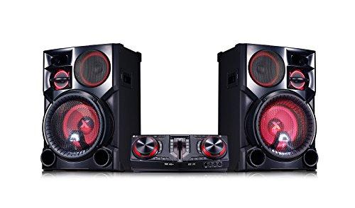 LG CJ98 Minicadena de música para uso doméstico Negro, Rojo 3500 W - Microcadena (Minicadena de música para uso doméstico, Negro, Rojo, Monótono, 1 discos, Bandeja, Frente)