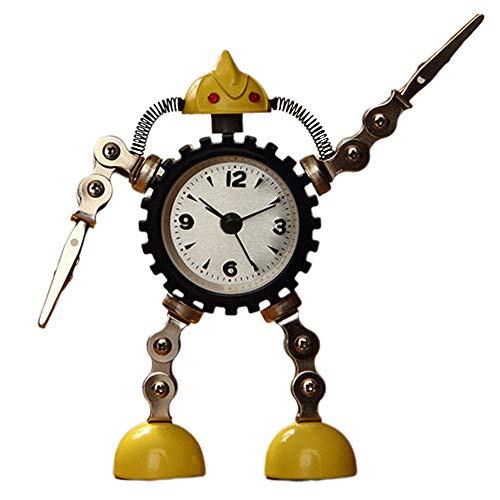 ANCLOK decoratieve desktop analoge robot cartoon praktisch cadeau wekker kinderen metaal mini kinderen Geel