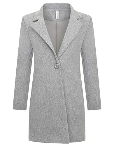 Zarlena Damen Mantel klassischer Female Trenchcoat Made in Italy Grau Melange M