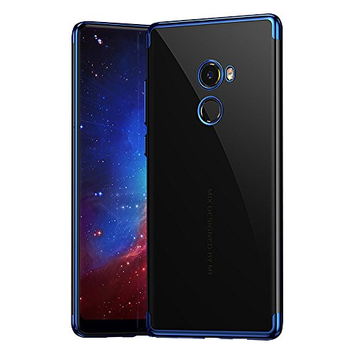 BLUGUL Funda Xiaomi Mi Mix 2, Electroplating Coloring, Ultra Fina, Transparente Suave TPU Silicona Cover Claro Case para Xiaomi Mix 2 Azul