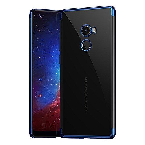 BLUGUL Xiaomi Mi Mix 2 Hülle, Electroplating Coloring, Crystal Clear Transparent Schutzhülle, Ultra-Dünn Hülle, Weiche TPU Silikon Cover für Xiaomi Mix 2, Blau
