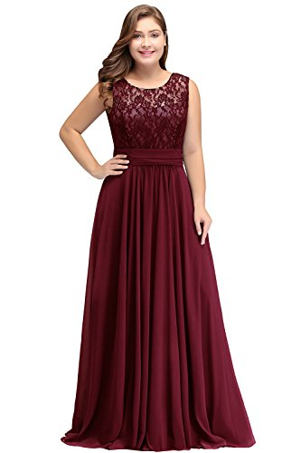Women Plus Size Chiffon Long Bridesmaid Dress for Wedding Burgundy 18W