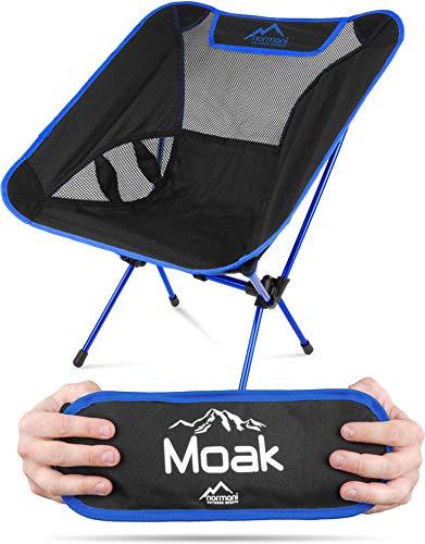 normani Ultraleichter Mini Campingstuhl MOAK 796 g! klappbarer Strandstuhl Anglerstuhl mit Aluminiumgestell - Stabiler Outdoorstuhl - Traglast: 135 Kg (330 lbs) Farbe Navy
