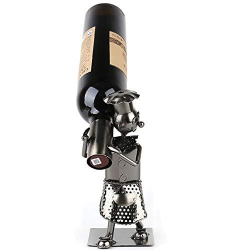R&Xrenxia Hierro Hecho A Mano Arte Caminar Hombre Rack Vino Botella De Vino Champagne Stand Bar Estante Cerveza Almacenamiento Organizador Interna Artesanía