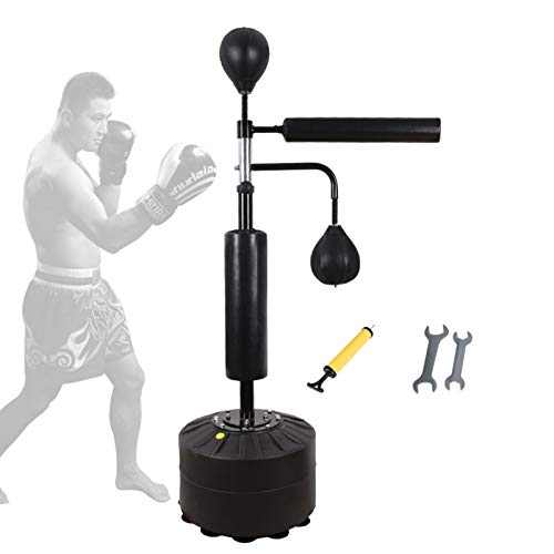 LLHSHA Freistehender Speed Boxsack,Vertikale Reflex Boxsäule Mit Luftpumpe,Erwachsene Kinder Punchingball Für Training Kampfsport-Black-b 190cm
