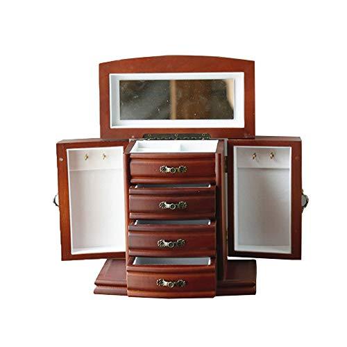 Yhjkvl Joyero de madera con 4 cajones, cerradura y llavero, caja de joyería forrada con espejo, para joyas, collares, anillos, pulseras, etc.
