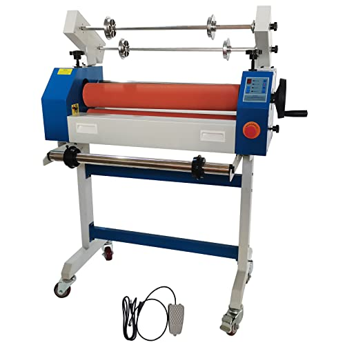 INTBUYING 25In Semi Auto Cold Laminator Automatic Manual Laminator Machine Wide Format Cold Laminating Machine with Self-Removing Film System 110V