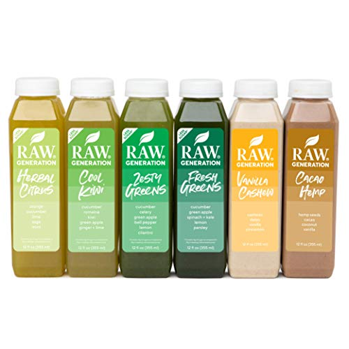 Raw Generation 5-Day Lower Sugar Juice Cleanse - 65% Less Sugar Than Other Cleanses / Juices with Superfoods / 100% Plant-Based Smoothies / Reboot Your Body Deliciously (30 Count)