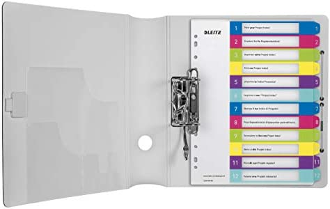 Leitz Rubrica con Tasti 1-10 Bianco//Multicolore Gamma Style Formato Extra Largo 12370000 Formato A4 Polipropilene Robusto Stampabile Al Pc