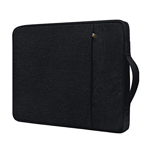 RAINYEAR 14 Inch Laptop Sleeve Case Compatible with 14' Notebook Computer Chromebook Tablet,Handbag with Handle Strap Front Pocket Padded Briefcase Polyester Waterproof Cover Protective Bag,Black