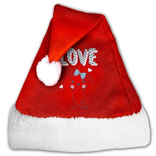 CZLXD Weihnachtsmütze mit Hase aus Filz, Polyester, rot, S