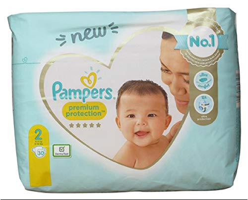 Pampers - Premium Protection New Baby, Multi, Talla 2 4-8 Kg, 30 Pañales
