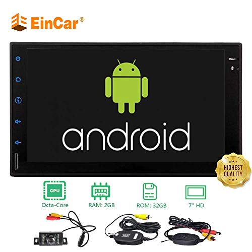 Eincar Android 8.1 Octa Core 2GB+32GB 7 Inch Capacitive Touch Screen Universal Double 2 Din 1024600 Resolution Head Unit with GPS Navi Bluetooth WiFi 1080P Video SWC USB SD & Free Wireless Backu