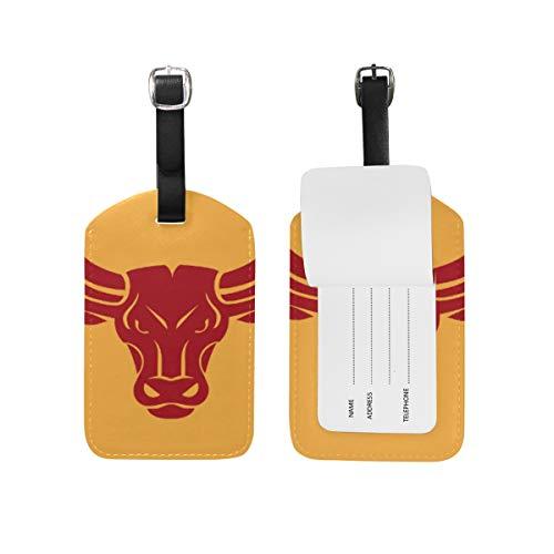 LORONA Bull Head Black Icon Etiquetas de equipaje Cuerdas Etiqueta de identificación de viaje para maleta Equipaje de mano, 1PC'