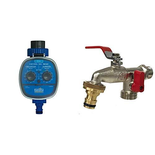 Aqua Control - Programador de Riego C4099N + Grifo de Jardín G6354 con Doble Salida 1/2 - 3/4