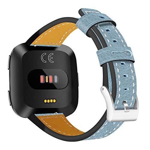 XIALEY Banda De Repuesto De Cuero Compatible con Fitbit Versa 2 / Fitbit Versa/Fitbit Versa Lite, Correa De Reloj Deportivo Pulseras Brazalete De Reloj para Mujeres Compatible con Versa,Azul
