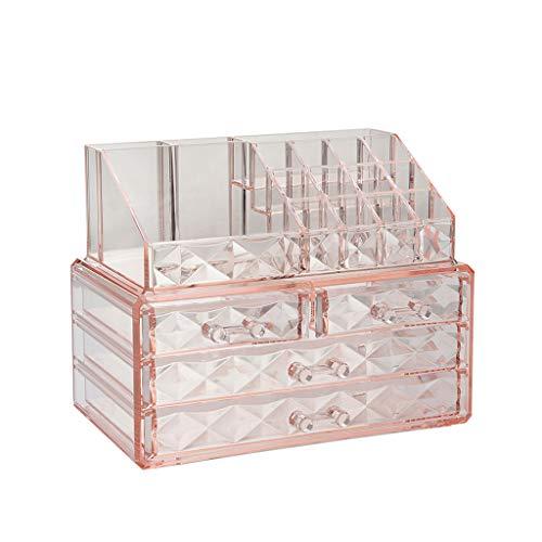 Effacer ABS Maquillage Case De Stockage Vernis À Ongles Rack Rouge À Lèvres Cosmétique Boîte De Rangement Porte-Brosse (Color : Pink)