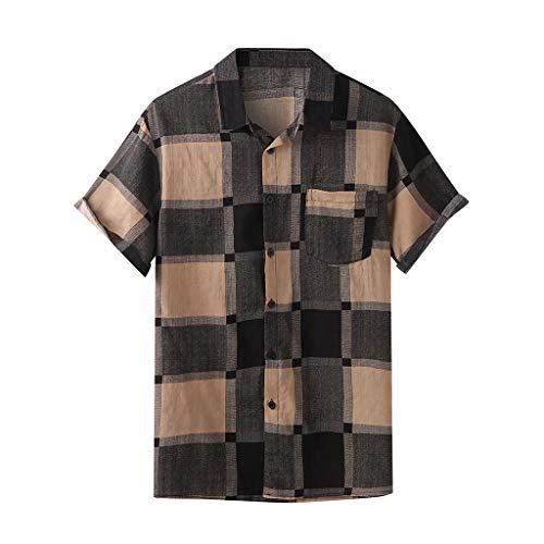 Realde Herren Kurzarm T-Shirt Vintage Plaid Drucken Slim Fit Top Mode Freizeithemd Stehkragen Bluse mit Taschen Männer Bequem Atmungsaktiv Oberteil Khaki, Rot, Gelb