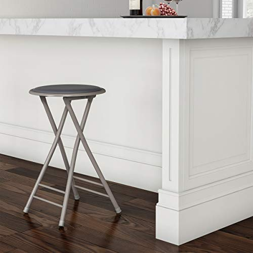 Trademark Home Folding Heavy Duty 24Inch Collapsible Padded Round Stool Gray 820827GY