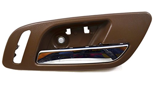 PT Auto Warehouse GM-2546MB-FR - Inside Interior Inner Door Handle, Brown (Cashmere) Housing with Chrome Lever - with Heated Seat Hole, Passenger Side Front