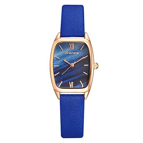 Powzz ornament Reloj de pulsera de cuarzo de la correa de la PU del reloj de la cabeza cuadrada de la manera clásica