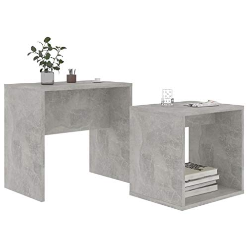 Pissente 2Pcs Small Coffee Table Set, Modern Nesting Tables Set Concrete Grey Sofa Side Table Tea Table Space-Saving Tea Table Set with Storage Shelf for Home Office