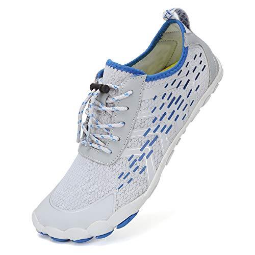 Deportes Acuáticos Calzado de Natación Unisex Zapatos de Agua Secado Rápido Respirable Water Shoes Escarpines Nadada de la Playa de la Resaca de la Yoga(O.Gris Blanco,43EU)