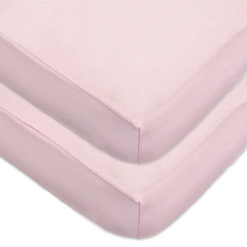 American Baby Company 2 Pack 100% Cotton Value Jersey Knit Fitted Crib Sheet for Standard Crib and Toddler Mattresses, Pink, for Girls