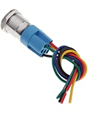 Almencla 12V Pre-wired Push Button Schakelaar Momentary Push Button Blauw LED Licht Waterdicht 19mm