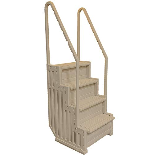 Confer STEP-1VM 4 Step Heavy-Duty Above Ground Swimming Pool Ladder Stair Entry System with Handrails, Warm Beige