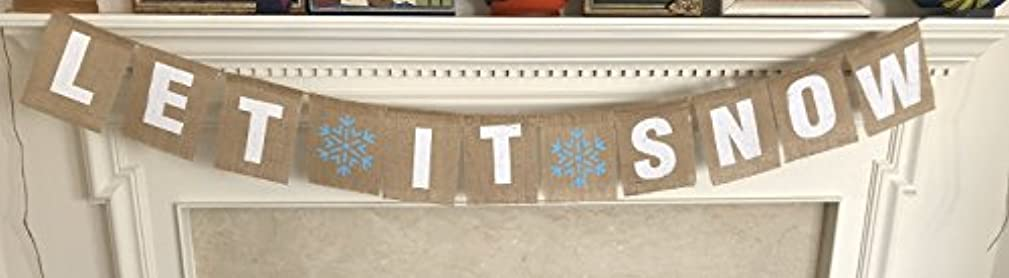 LET IT Snow Christmas Banner - Ready to Hang Holiday Decor - Festive Burlap Seasonal Winter Decoration - Frozen Theme Party Decorations - Rustic Snowflake Bunting Garland Flag - by Jolly Jon ?