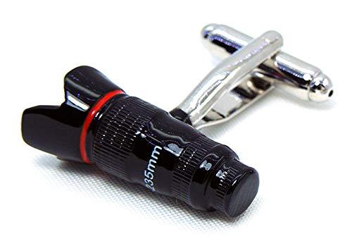 一眼レフ カメラ 望遠 レンズ カフス 黒 カフスボタン ブラック メンズ a069