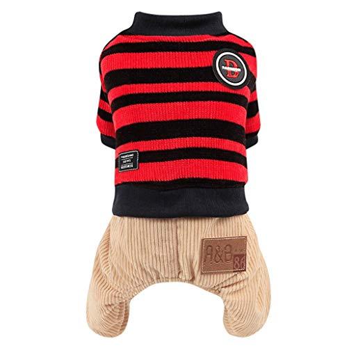 Yowablo Gestrickte Hundestrickjacke Chihuahua kleidet Winter-Strickwaren-Haustier-Welpen-Pullover-Kleidung (M,3- Rot)