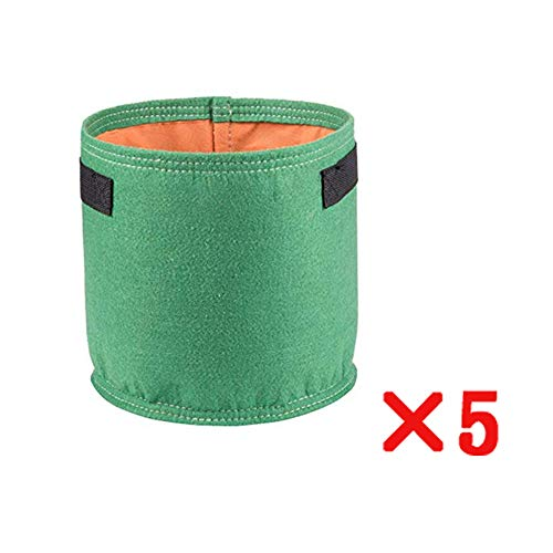 Sacs à Plantes Sac a Plante, 5 pièces Tissu Non tissé Sac de Plantes, Marron, Vert Contenant Pot Absorption d'eau Respirante Peut être utilisé Plantes d'intérieur/extérieur,Green,5Gallon30*25cm