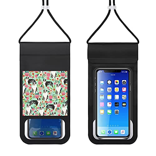 Waterproof Mobile Phone Package Cell Phone Dry Bag with Lanyard Phone Case Outdoor Swimming Phone Bag Aussie Dog Floral Best Blue