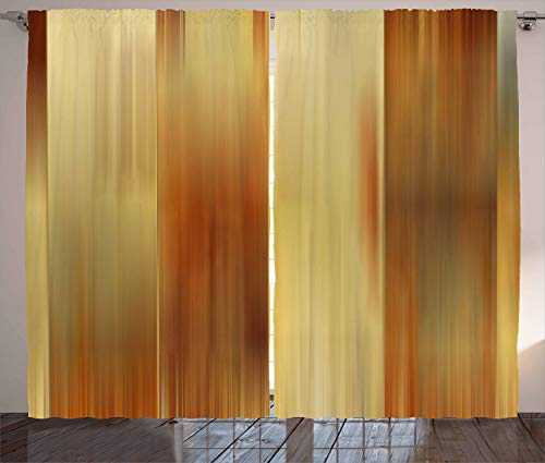 Ambesonne Earth Tones Curtains, Abstract Modern Design Ombre Inspired Smooth Color Transitions, Living Room Bedroom Window Drapes 2 Panel Set, 108' X 84', Yellow Ginger