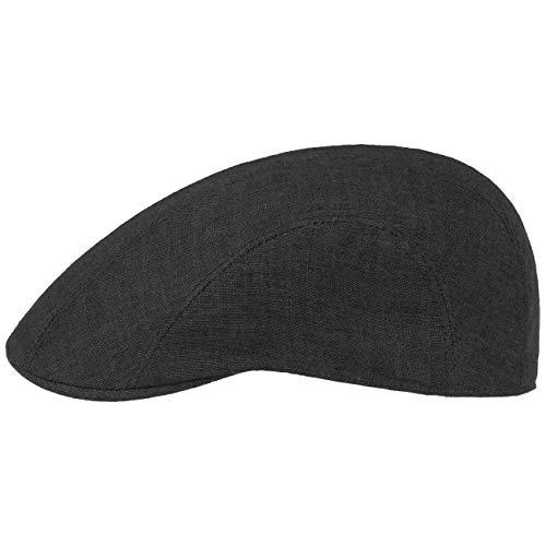 Stetson Madison Leinen Flatcap - Flat Cap aus Leinen Herren/Damen - Gefütterte Leinencap - Schirmmütze Frühjahr/Sommer - Sommercap schwarz 57 cm